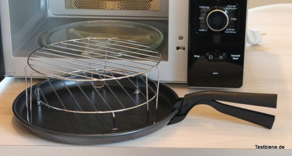 Crisp-Platte mit Griff und Grillrost