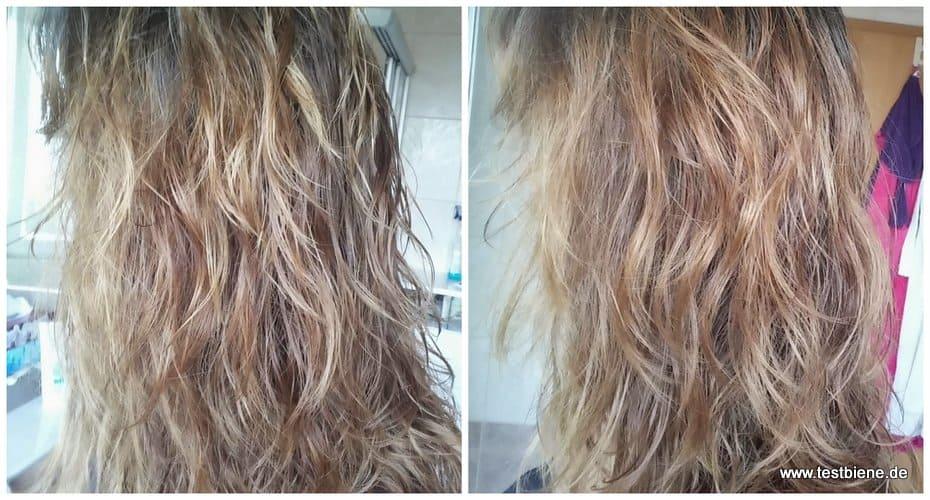 L: Direkt nach der Haarwäsche R: Nach ca. 15 Minuten lufttrocknen
